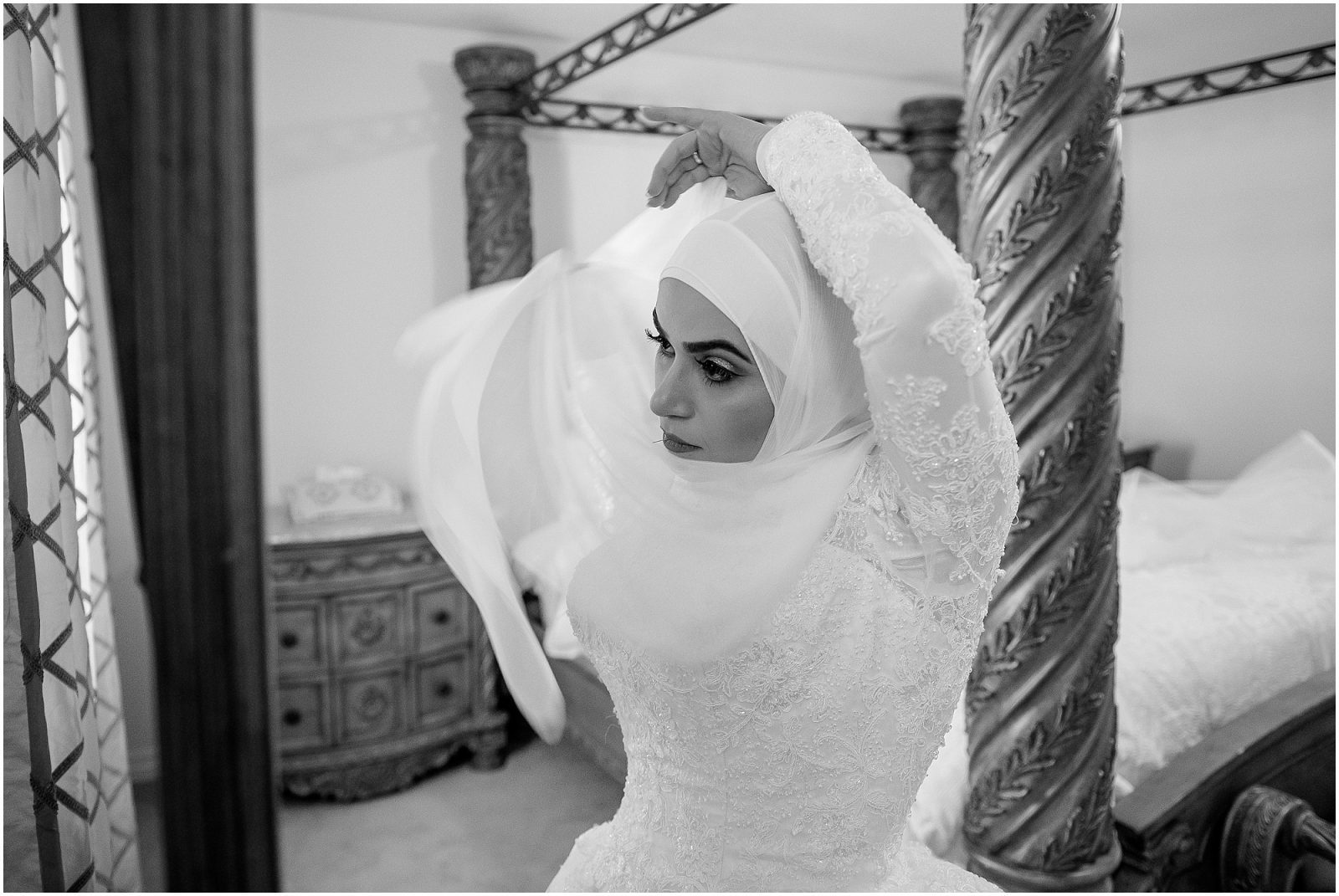Wedding day hijab style - bride puts on her hijab
