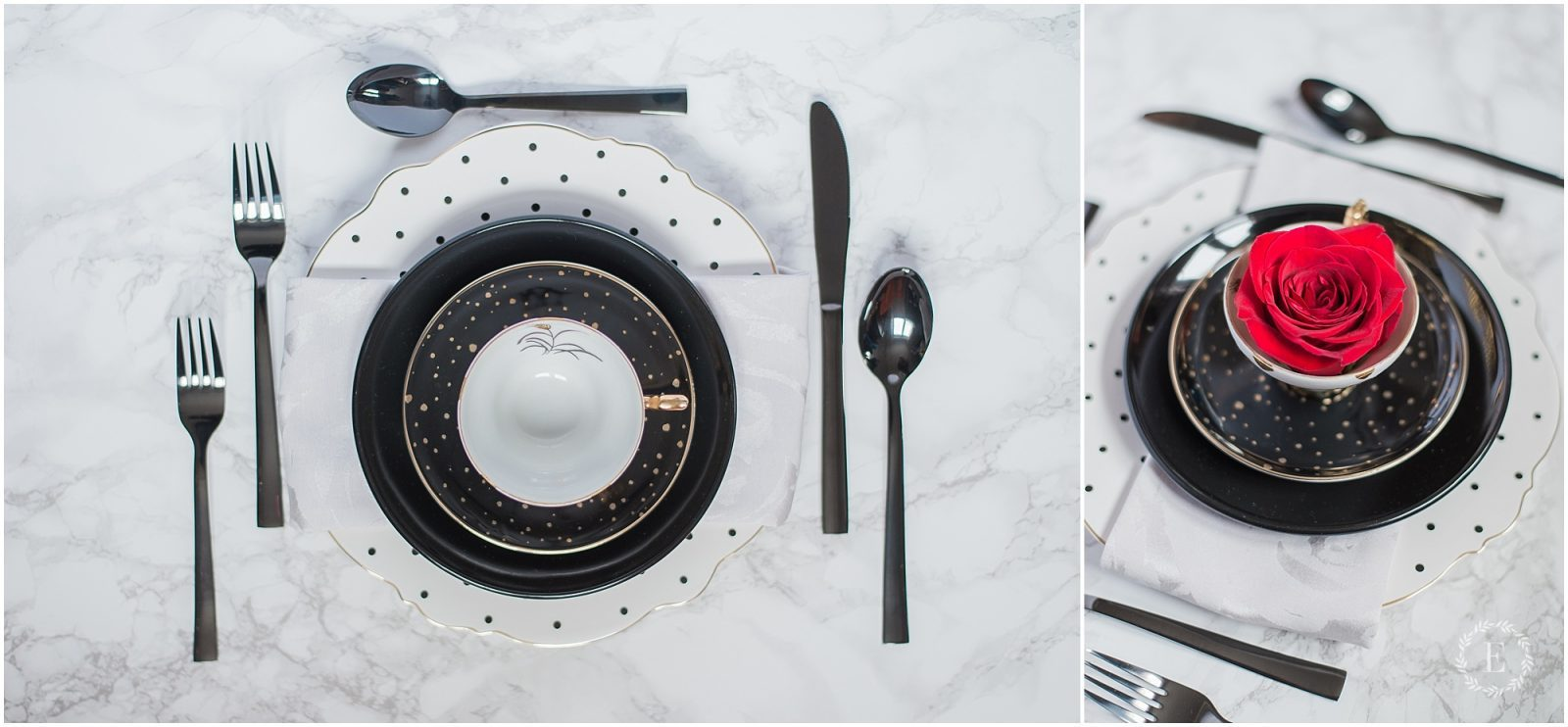 kate spade inspired table setting - black and white - black table ware
