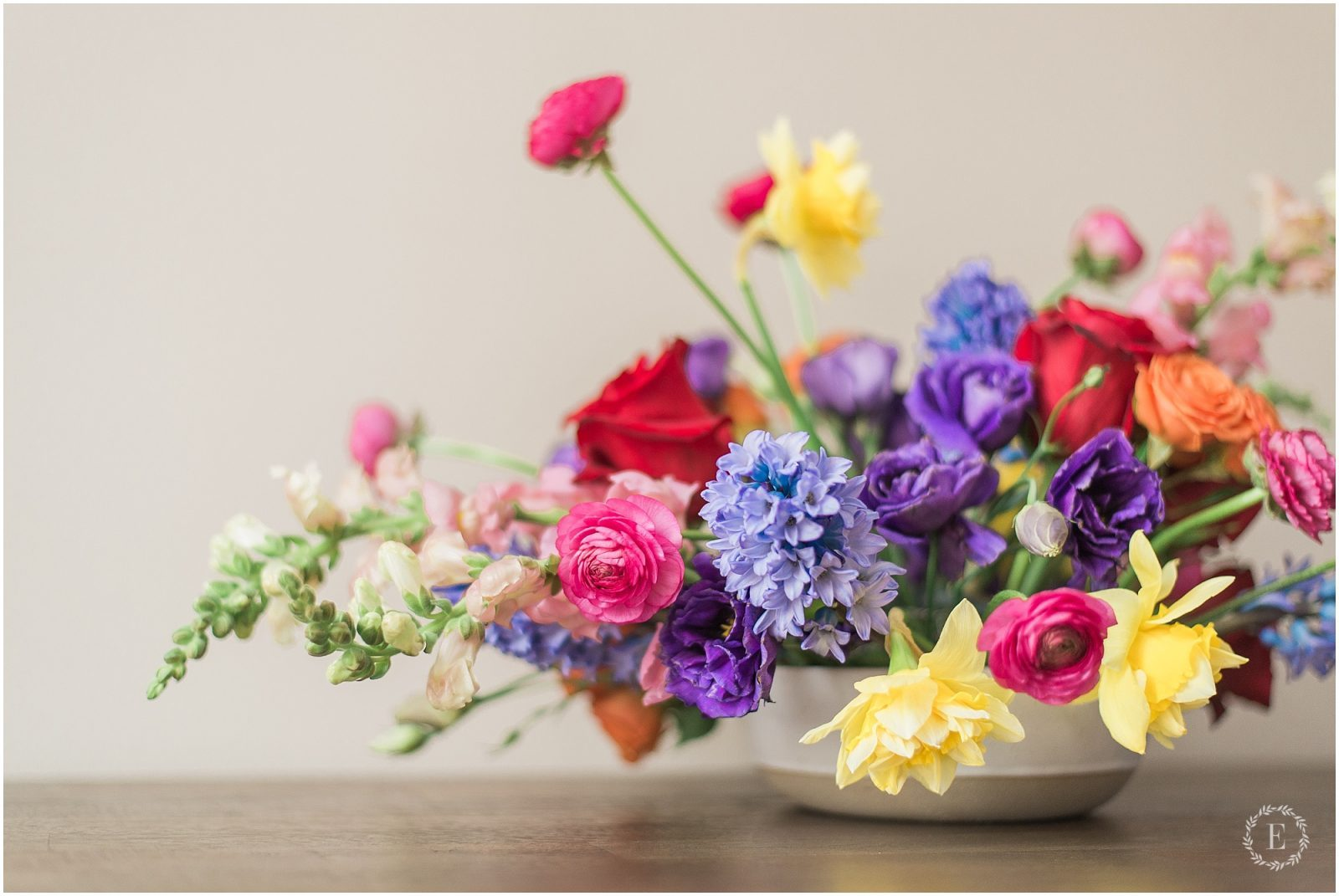 whimsical floral arrangement with bright and bold colors